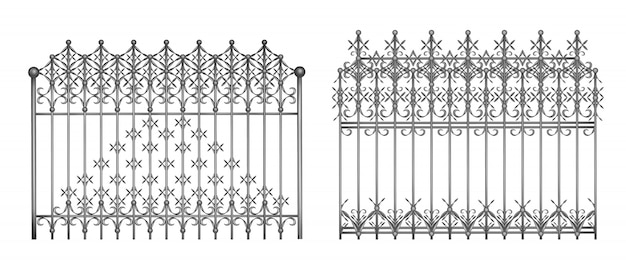 Sections of decorative forged fence or gates with elegant, retro ornament realistic