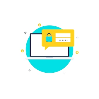 Secure account login flat illustration design