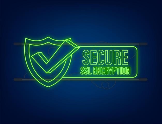 白い背景、フラットスタイルのセキュリティで保護されたsslシールドシンボルで隔離の安全な接続アイコンベクトル図。ネオンアイコン。