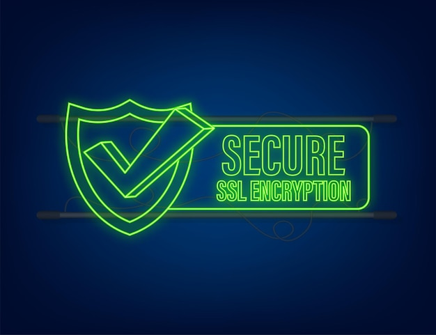 Secure connection icon vector illustration isolated on white background, flat style secured ssl shield symbols. neon icon.