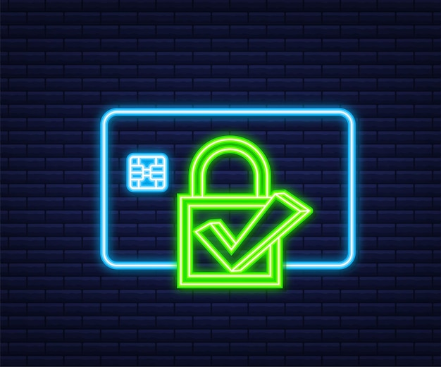 Secure credit card transaction. payment protection concepts, secure payment. neon style. vector illustration.