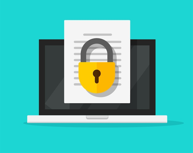 Secure digital confidential document online access with private lock on laptop computer text file vector flat icon