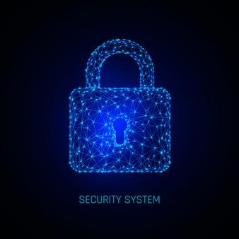 安全なデジタル空間。プログラミング保護、南京錠セキュリティシステム。