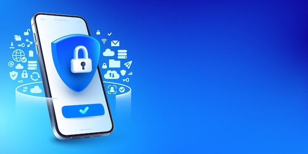 Secure internet connection, smart phone privacy and vpn connect protection