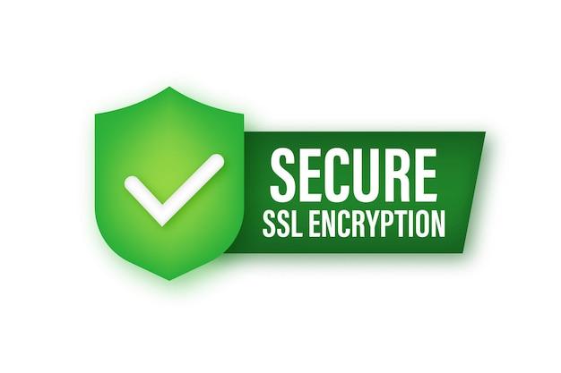 Значок ssl безопасного подключения к интернету. безопасная защита ssl. векторная иллюстрация штока.