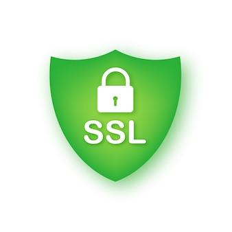 安全なインターネット接続sslアイコン。 sslセーフガード。ベクトルストックイラスト。