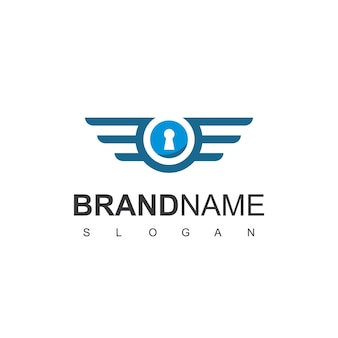 Secure logo design with keyhole and wings symbol