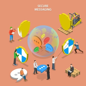 Secure messaging isometric flat vector concept.