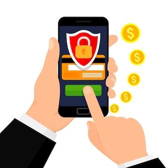 安全なモバイルトランザクション。モバイルセキュリティ。セキュリティ支払い、支払い保護の概念。
