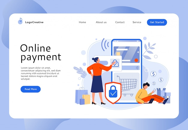 Secure online payment. people buy in mobile store, online shopping and easy website bank card payments illustration. e commerce, internet selling, electronic paying website layout