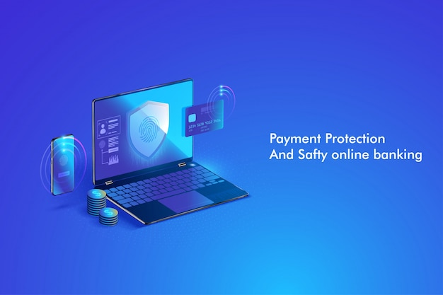 Secure online payment transaction with computer. protection shopping wireless pay through computer via credit card.
