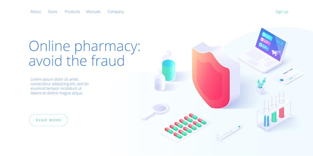 Secure online pharmacy or drug store shopping concept in isometric illustration.