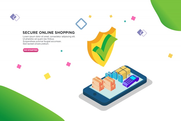 Secure online shopping isometric design