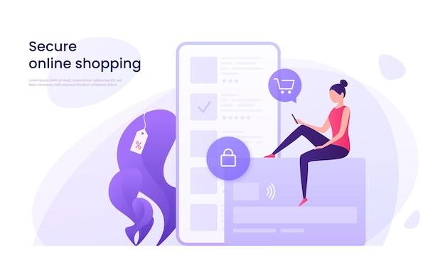安全なオンラインショッピング、クレジットカードの概念を使用した保護された支払い。