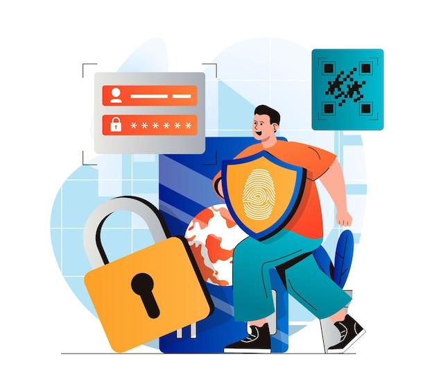 현대적인 평면 디자인의 안전한 지불 개념 비밀번호를 사용하여 금융 계정에 지불하는 남자