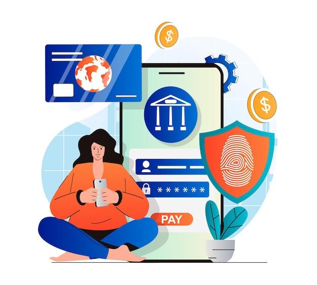 현대적인 평면 디자인의 안전한 지불 개념 온라인으로 지불하고 금융 거래를 수행하는 여성
