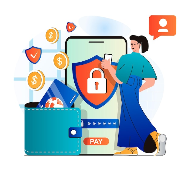 Secure payment concept in modern flat design woman logs into financial account using password