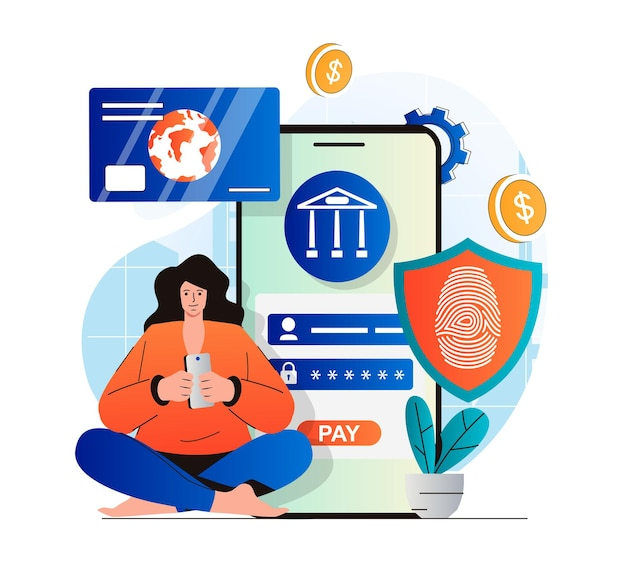 Secure payment concept in modern flat design woman paying online and conducts financial transaction