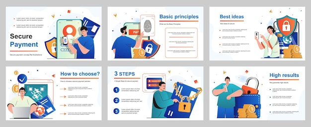 Secure payment concept for presentation slide template people paying for goods and services