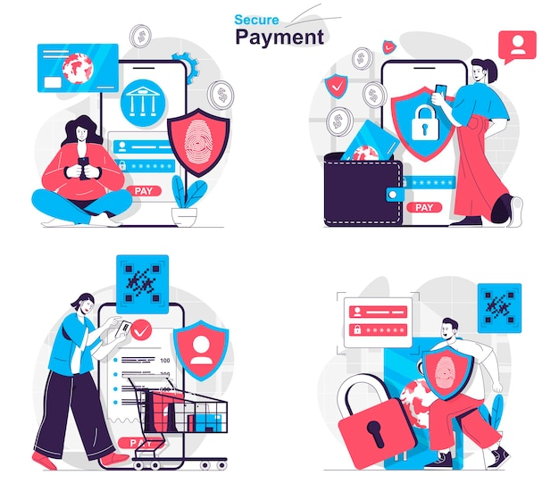 Secure payment concept set protection of financial data and banking transactions