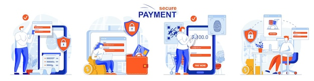 Secure payment concept set safe online shopping protection of transactions