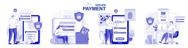 Secure payment isolated set in flat design people make safe financial transactions online banking