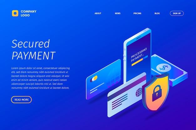Secure payment landing page concept