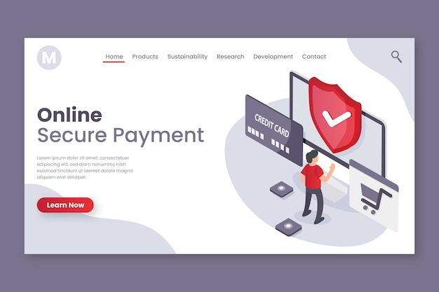 Secure payment landing page design