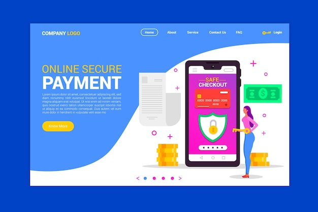 Secure payment landing page