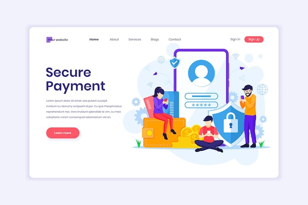 Secure payment or money transfer concept with characters illustration