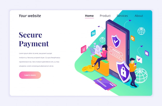 Secure payment, money transfer protection concept with characters. modern flat isometric for landing page template