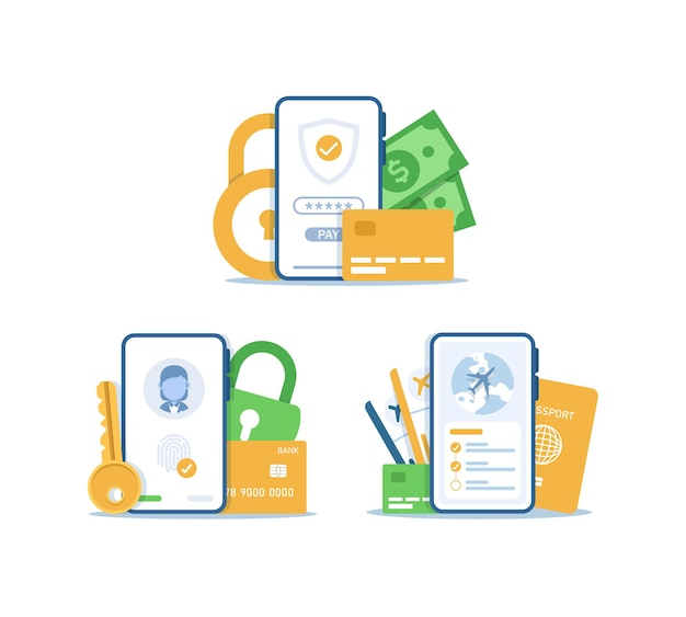 Безопасная оплата концепция дизайна защиты личной информации безопасности учетной записи для целевой страницы