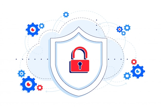 Secure platform with api downtime protection illustration. shield and lock as the concept of security. saas.