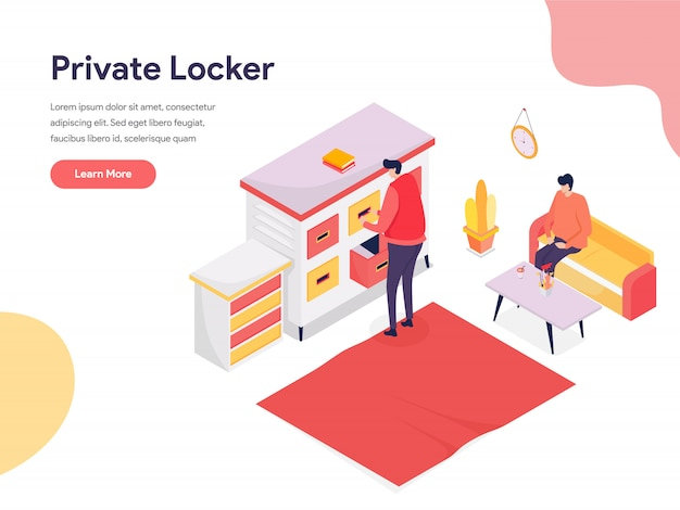 Secure space and private locker illustration