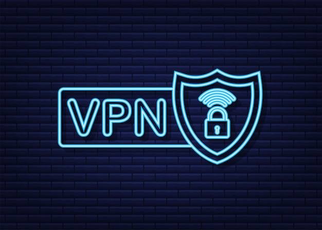 Secure vpn connection concept. virtual private network connectivity overview. neon icon. vector stock illustration.