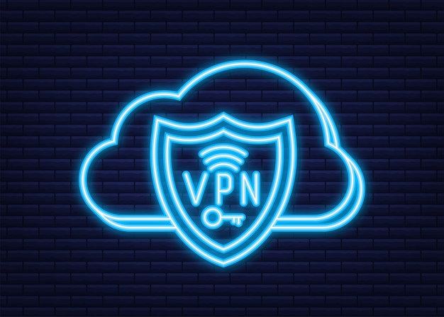 Secure vpn connection concept. virtual private network connectivity overview. neon style. vector stock illustration.