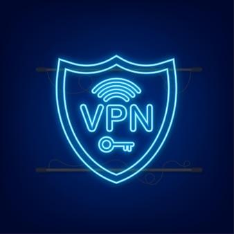 安全なvpn接続の概念仮想プライベートネットワーク接続の概要ネオンスタイル