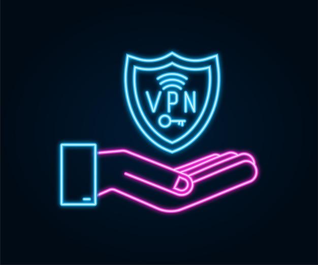 Vpnネオンサインを保持している手hnadsで安全なvpn接続の概念