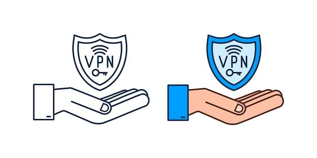 手で安全なvpn接続の概念vpnサインを保持しているhnads仮想プライベートネットワーク