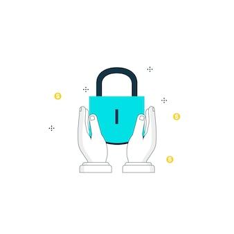 セキュリティ保護された情報、データのプライバシー、南京錠の保護とアクセス許可のフラットラインイラストデザイン
