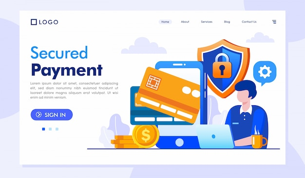 Secured landing page website illustration vector template