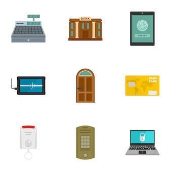 Secured money icon set, flat style