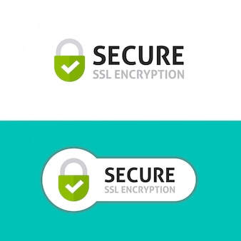 Secured ssl protected or connection logo Premium Vector