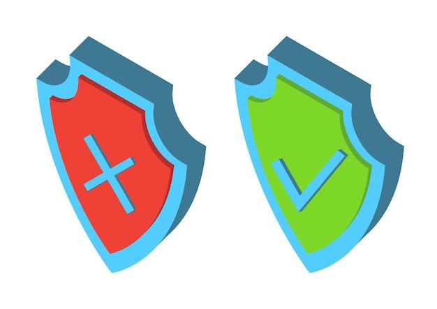 보안 3d 방패. 갑옷 아이소메트릭 플레이트. 보안 및 보호의 상징입니다. 표시 아이콘을 확인합니다. 방패에 녹색 눈금과 적십자 체크 표시가 있습니다. 승인 및 거부의 상징입니다. 고립 된 벡터