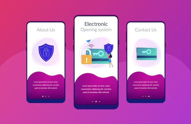 Security access card app interface template.