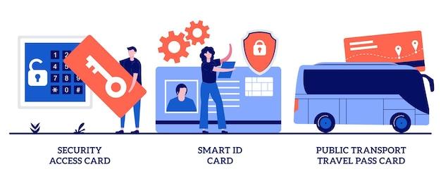 보안 액세스 카드, 스마트 id 카드, 대중 교통 여행 패스 카드 개념