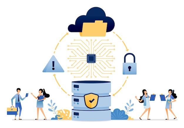 보안 접근 흐름 및 클라우드 서비스 및 데이터베이스에 저장된 데이터 파일 보호