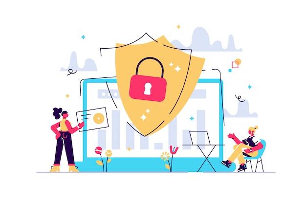 보안 분석가는 방패로 인터넷에 연결된 시스템을 보호합니다. 사이버 보안, 데이터 보호, 흰색 바탕에 사이버 공격 개념. 분홍빛이 도는 산호 bluevector 고립 된 그림