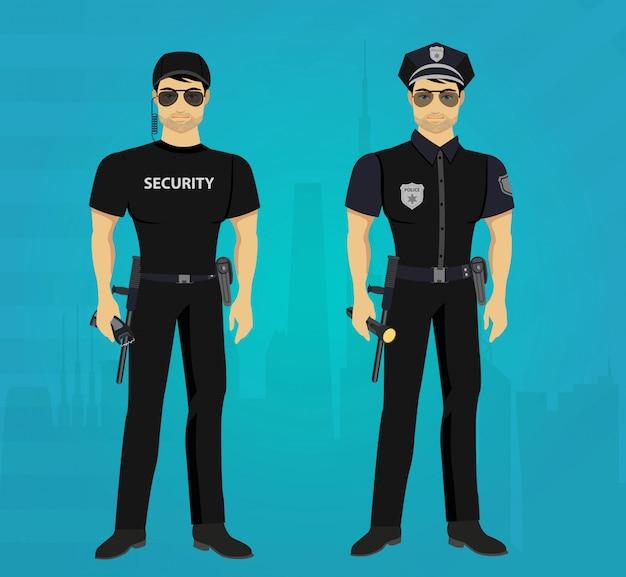 보안 및 경찰관 경비 개념.