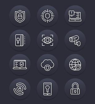 セキュリティと保護ラインのアイコンセット、サイバーセキュリティ、安全なブラウジング、ファイアウォール